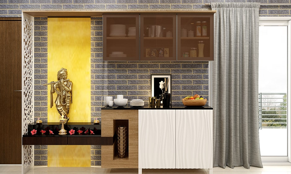 Back painted glass design for pooja room with a subtle back painted glass design