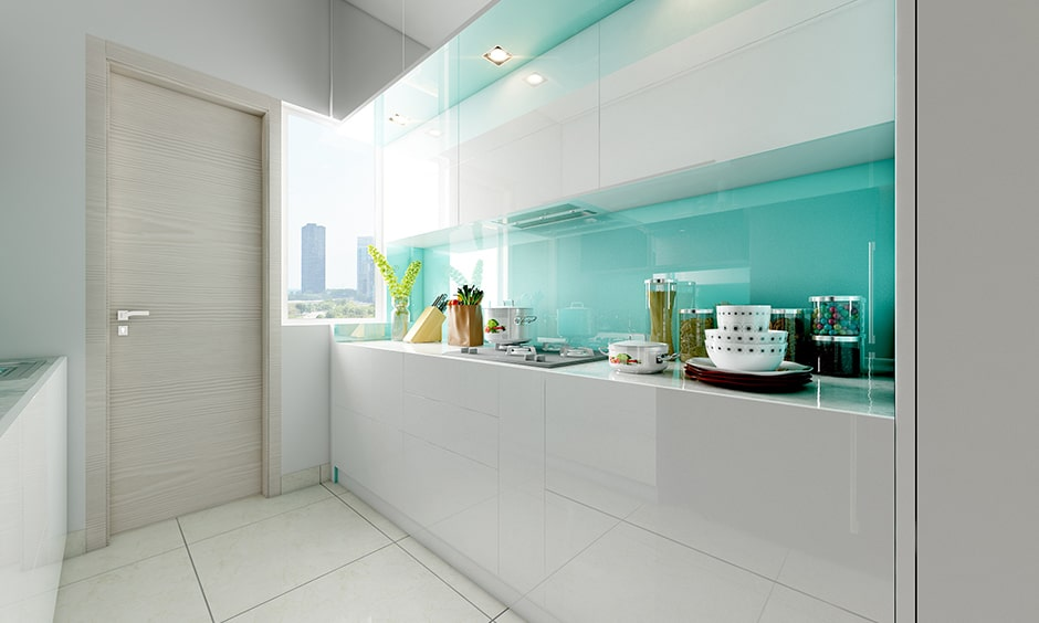 Back painted glass design for kitchen with paint up some glassy-ness in kitchen