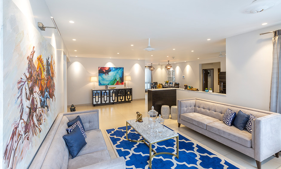 An uber stylish living room with independent house design which makes it an inviting space for entertaining guests