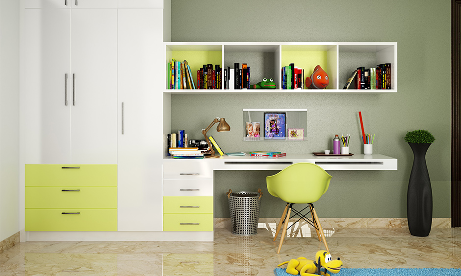 Modern kids study table and chair create an organised and creative space for a teen to concentrate