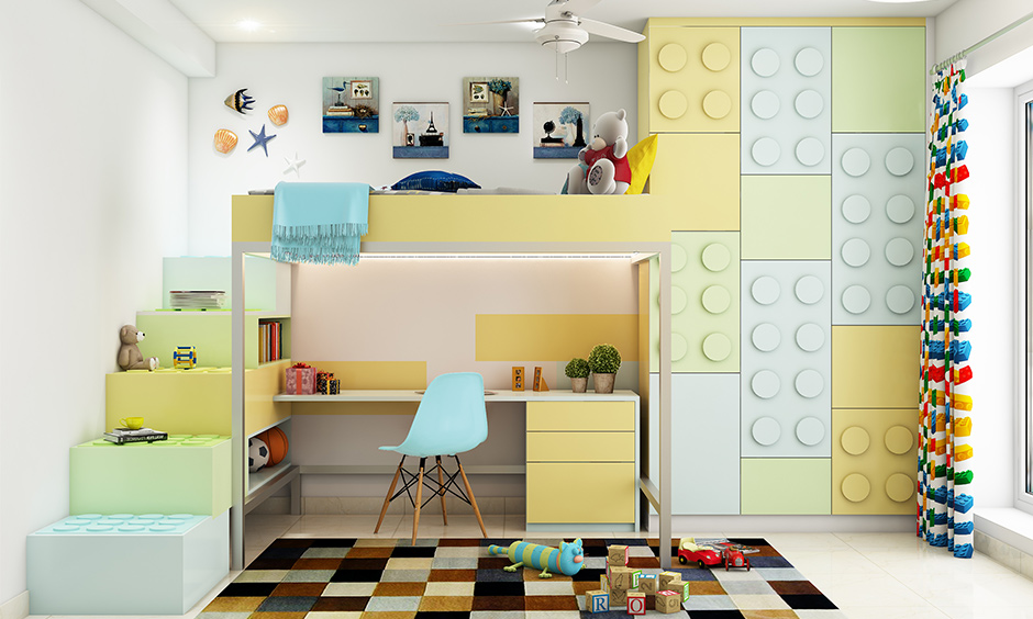 Lego-themed kids study table with storage and bed for space-saving is creative.