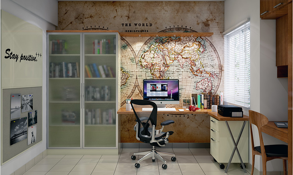 Spacious kids room study table with the world hemisphere sticker on the wall, feel ease and simmer ideas, finish homework.