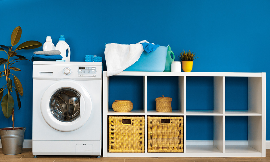 Laundry small utility room ideas add wallpaper or wall paint to match the look of the rest of your home to make it aesthetic.