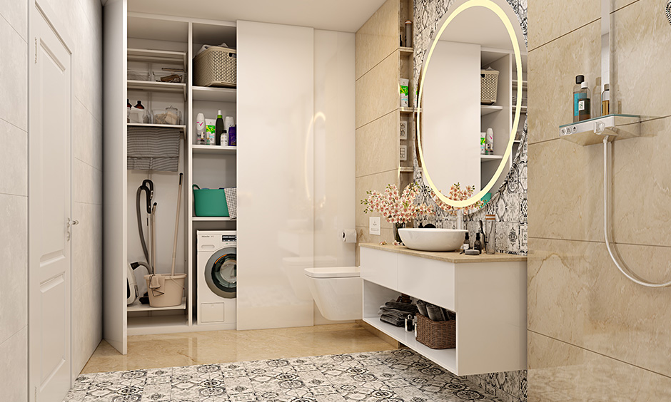 Shutter modular storage units for keeping washing machine and cleaning stuff are utility room with toilet ideas