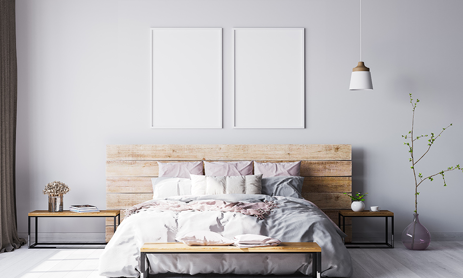 Master bedroom brings a rustic vibe with the best white paint for dark rooms that never goes out of fashion.