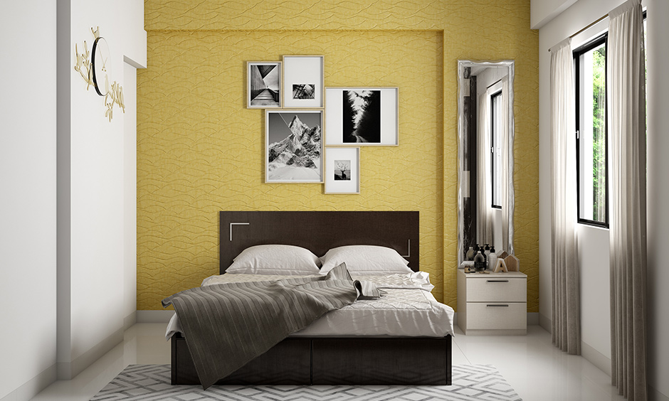 A bedroom painted in mustard yellow & room looks much more significant than it is the best paint for a darkroom.