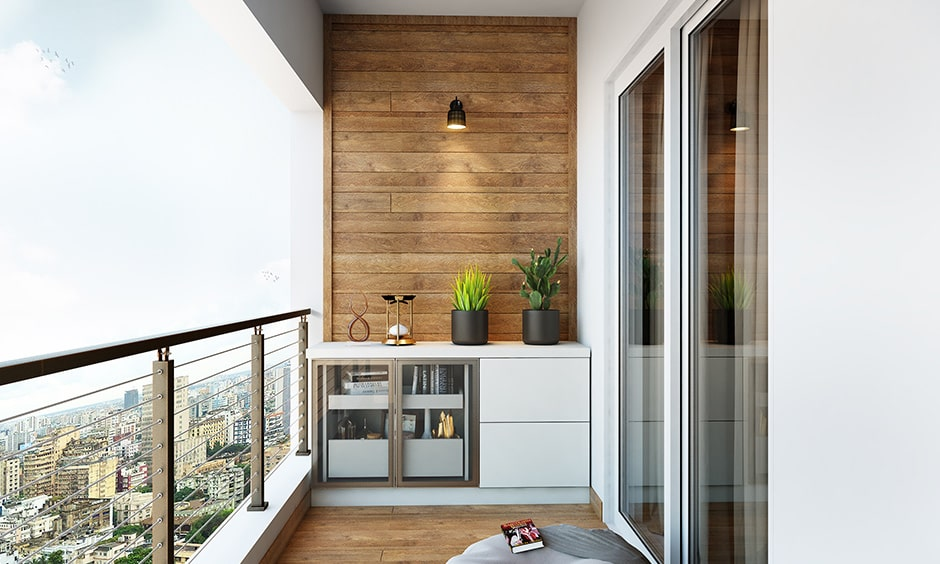 Apartment balcony interior design with storage options