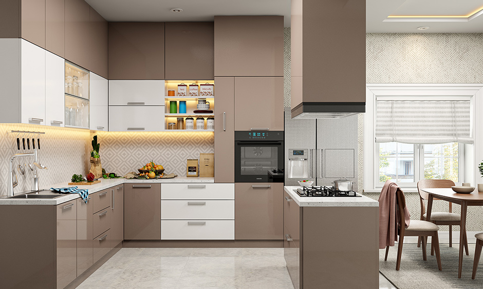 Types of acrylic kitchen cabinet which are solid acrylic door and acrylic finished doors