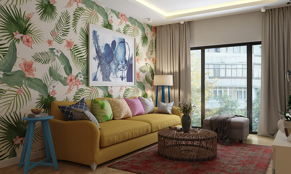 Family room decor with wallpaper by using a beautiful floral one can instantly make any space look beautiful.