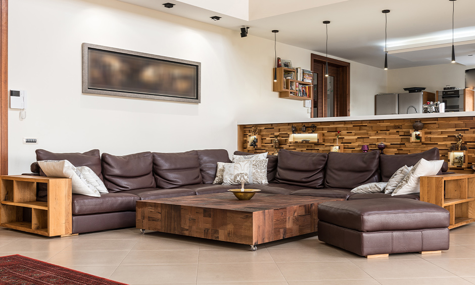Full-length large sectional sofas in brown leather are perfect for a big family & aesthetics of your living room.
