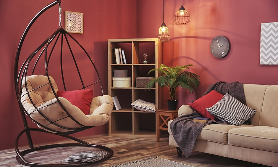 Living room seating ideas with a swing chair