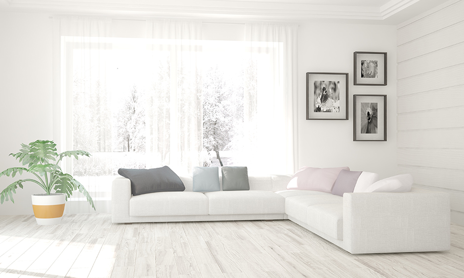 Sectional white l shaped sofa is versatile to fit into almost every size of the living room.