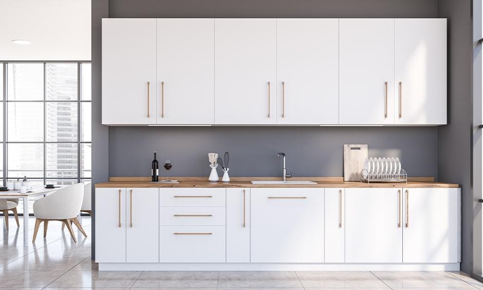 White laminate kitchen cupboards for straight kitchen