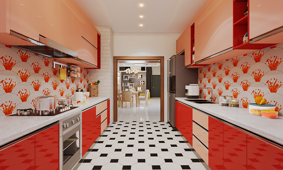 A red coloured parallel kitchen interior design which is a good example of indian parallel modular kitchen designs with a shining and glossy finish