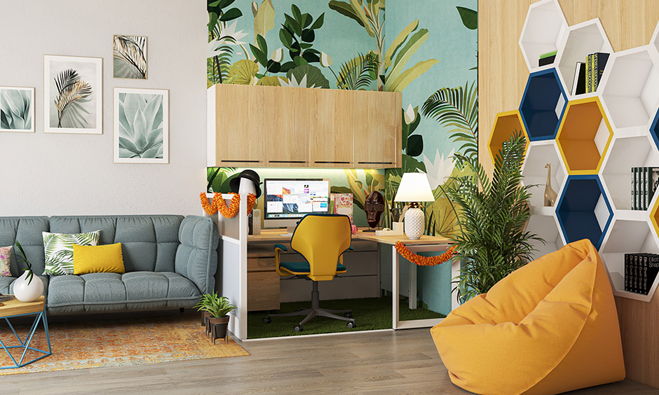 Mustard shades of paint colour used for the seatings and niches to bring a pop of colour to this home office.