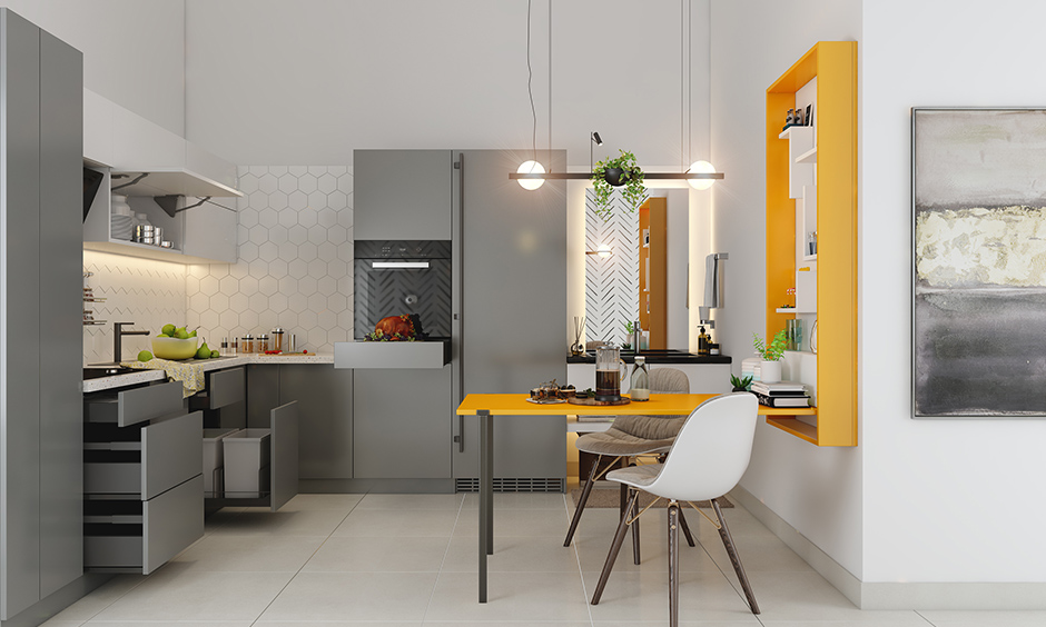 Yellow colour built-ins drop-down dining table this is how to make mustard colour look cosy in this kitchen.