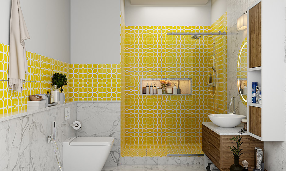 Mustard color ceramic tiles in this bathroom are durable, easy to clean and don't fade with time.