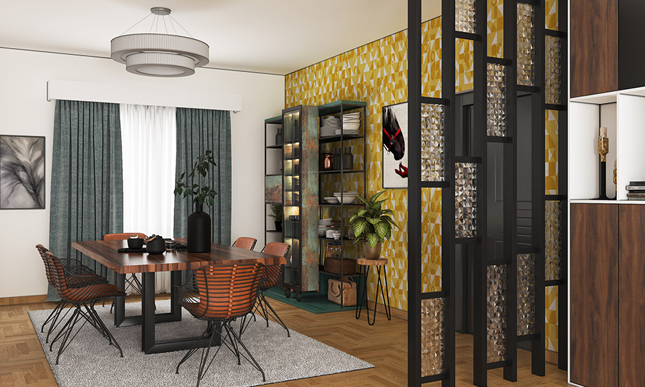 Dining room with a mustard color feature wallpaper on the wall brings a premium look and a professional fit and finish.