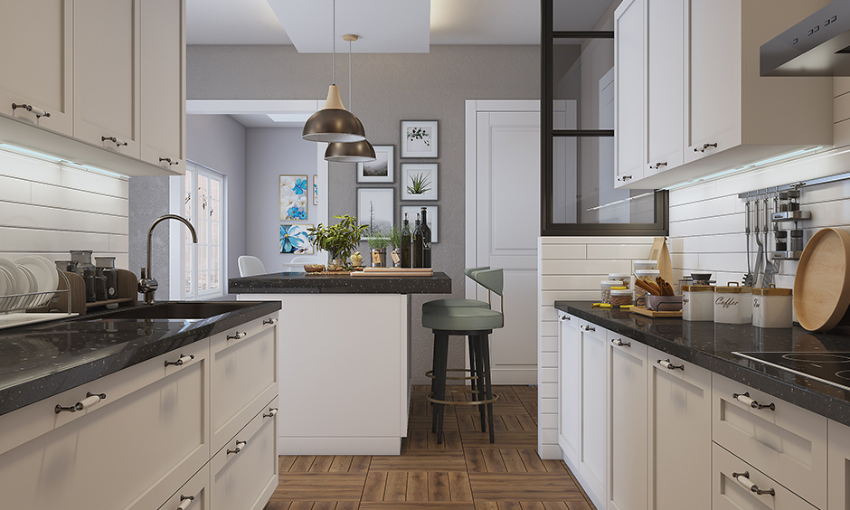Parallel kitchen design with everything white including the cabinets and shelves of a kitchen island