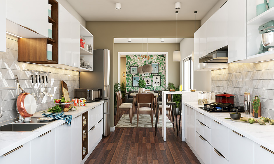 Parallel kitchen design with two white coloured countertops parallel to each other in american style with cherry colour wooden flooring matching with white colour of kitchen cabinets
