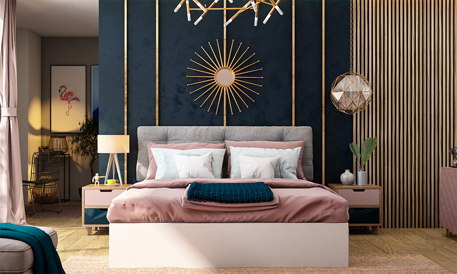 Pink-coloured bed and curtain against blue looks eclectic is the best combination with blue colour.