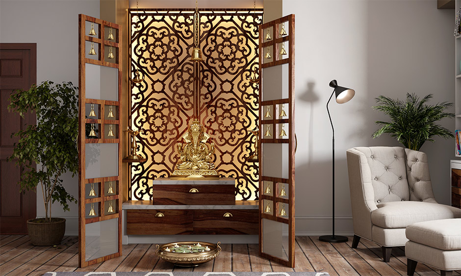 Pooja room decoration ideas topped by marble pieces and wooden drawers