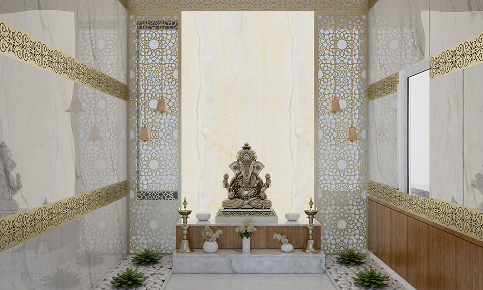 Pooja room decoration ideas with combination of jaalis, marble and onyx stone
