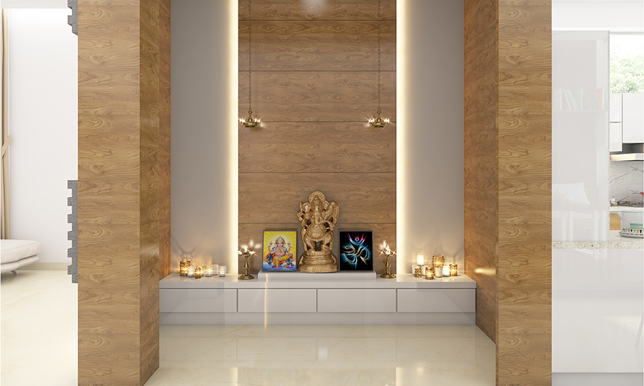 Pooja room decoration items with  floating platform with push to open drawers for storage