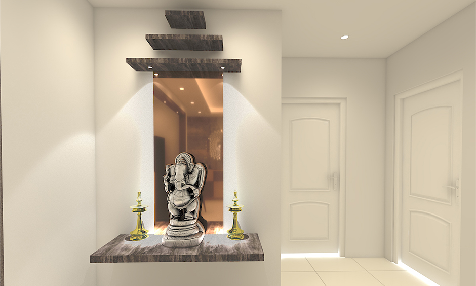 Ideas to decorate pooja room which features floating marble slabs to form the shape of a temple