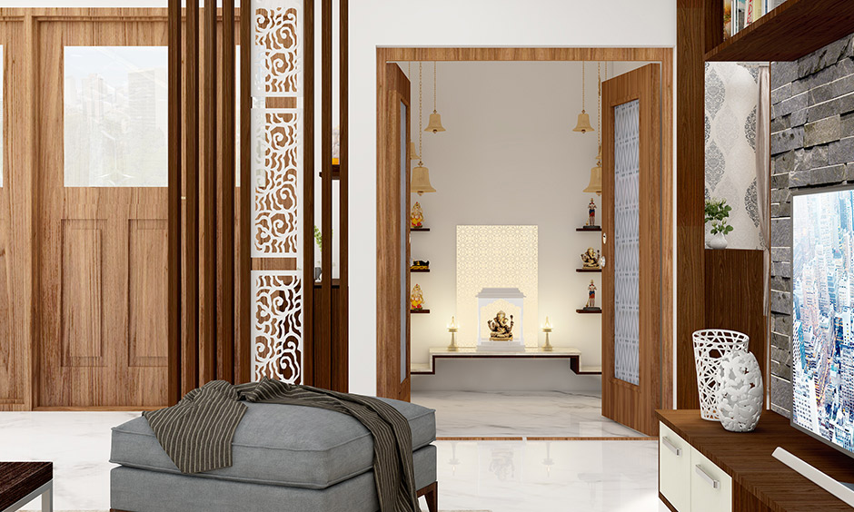 Pooja room decoration lights  with intricate carvings, brass bells or filigreed work which tells us how to decorate pooja room