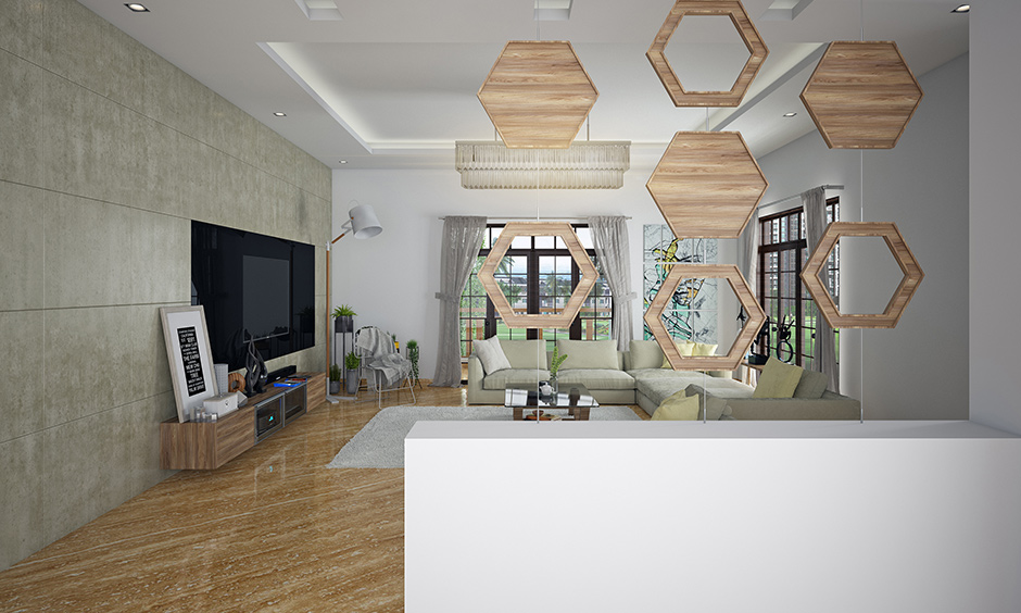 Hall partition design with hexagons shape wood held together by an invisible clear wire in this living room is partition design for hall