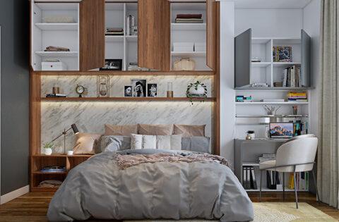 Space saving 1bhk flat interior design ideas