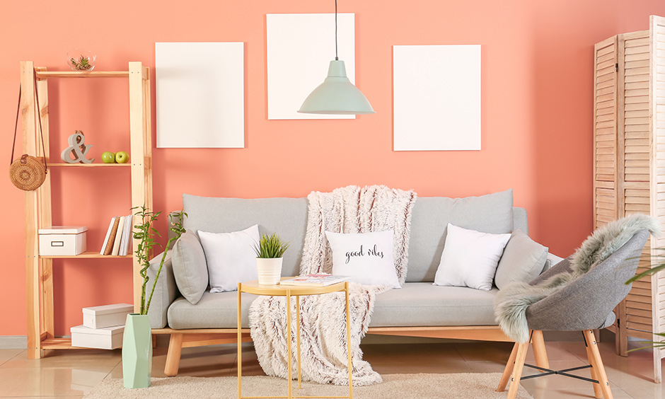1bhk room interior design with peaches and creams bright colours, paired with decor pieces making space look more spacious.