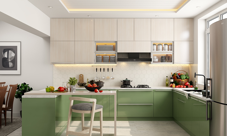 Modern g shaped kitchen with white marble seamless sleep countertop in frosty white