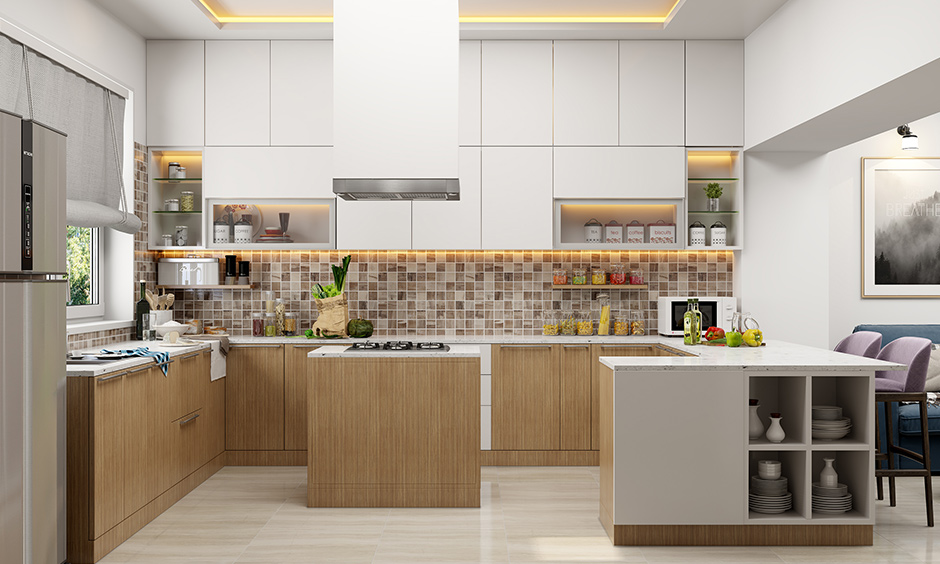 Island kitchen in g shaped kitchen design with a rustic touch to it with a pull-to-open mechanism