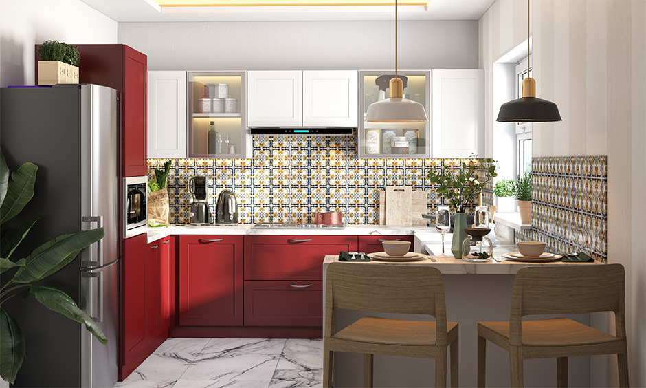 Breakfast bar g shaped kitchen layout drawing with has a tall unit with inbuilt oven space and bottom cabinets