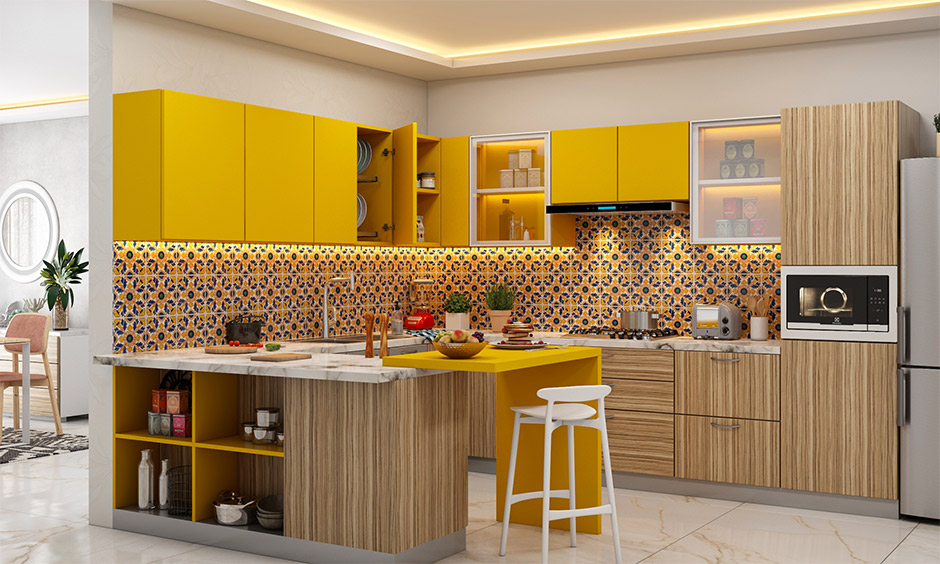 Peninsula small g shaped kitchen layout with overhead cabinets in the popping colour yellow