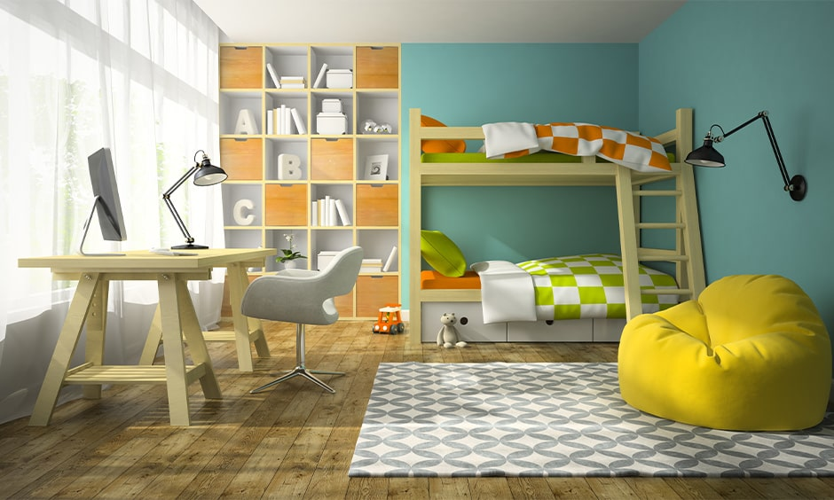 Children's space-saving bunk bed design with timber and blue theme