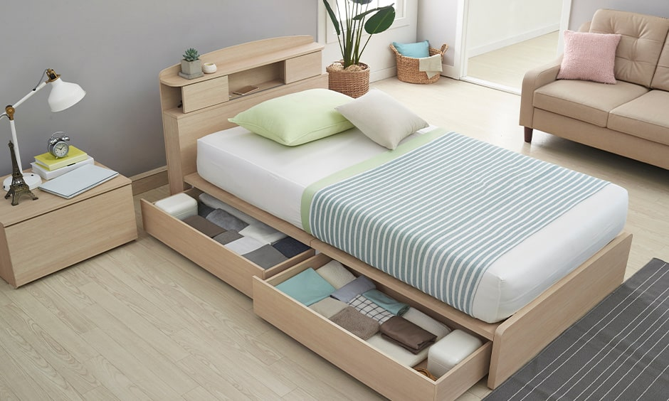Space saving beds with built-in storage space for small rooms