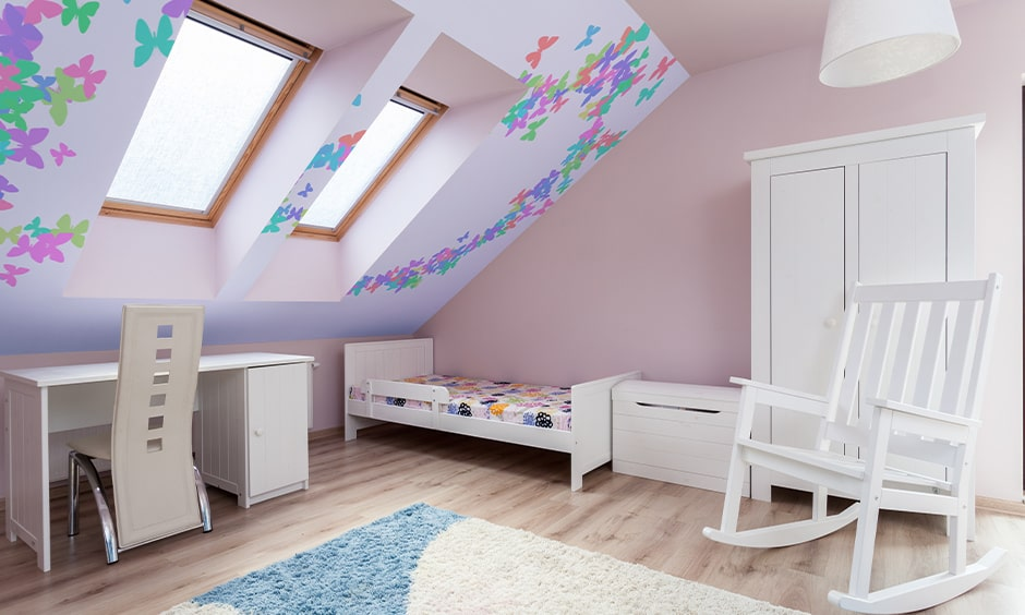 Space-saving single bed for kids bedroom under attic
