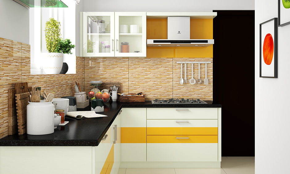 Black granite countertop, beige colour backsplash & cabinets is perfect L-shaped white kitchen design for small space house