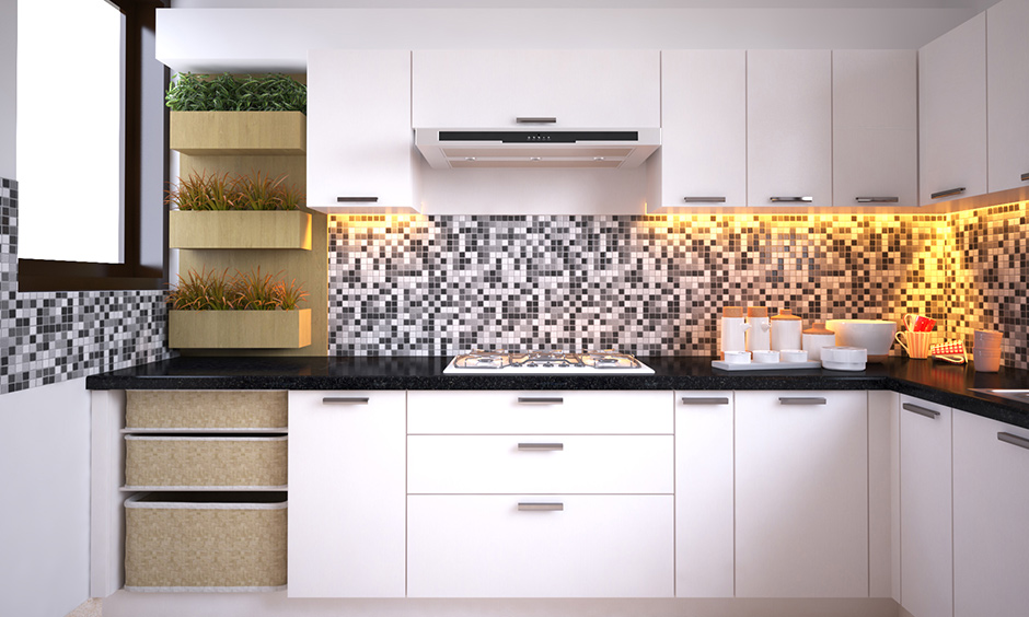 White kitchen with cabinets, vertical garden and mosaic LED-lit backsplash is a simple kitchen design for small house