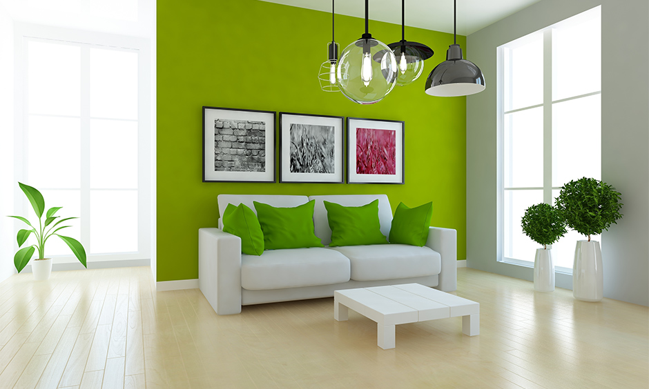Gorgeous green colors for living room according to vastu that symbolises growth, healing and abundance