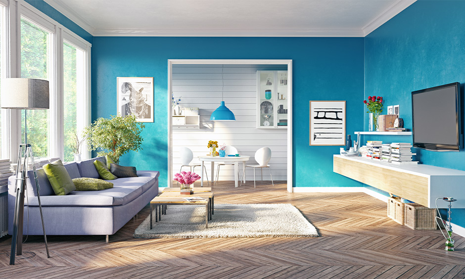 A blue tiful and best vastu color for living room which represents an emotion, devotion, inspiration and truth