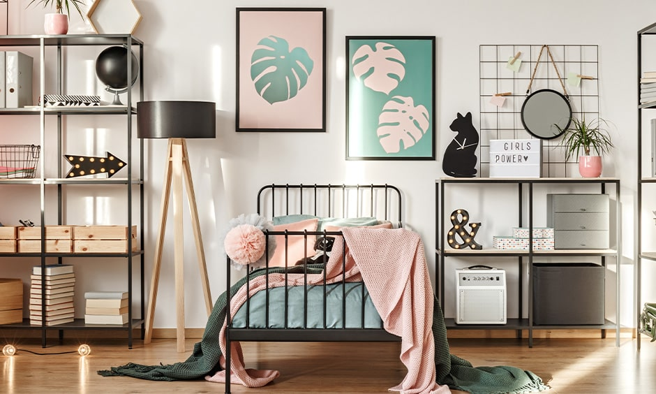 Small bedroom decoration ideas with wooden flooring and pretty paintings of leaves