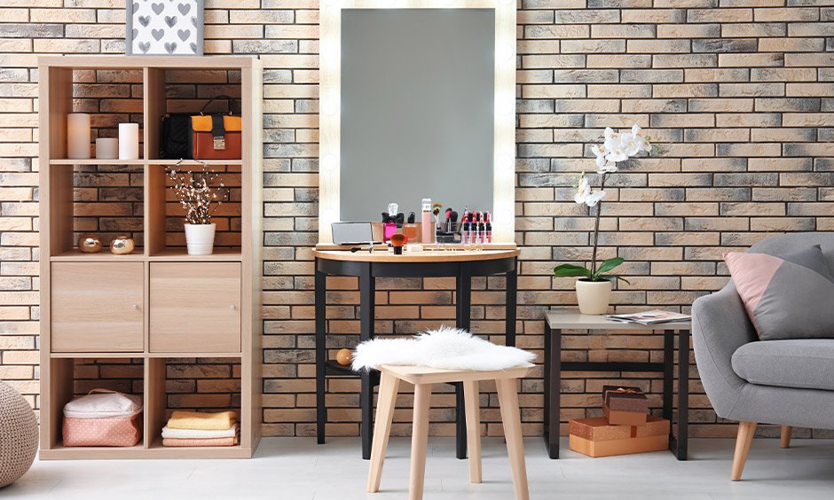 New model wooden dressing table with LED bulbs placed on the mirror frame & wooden stool is super trendy.
