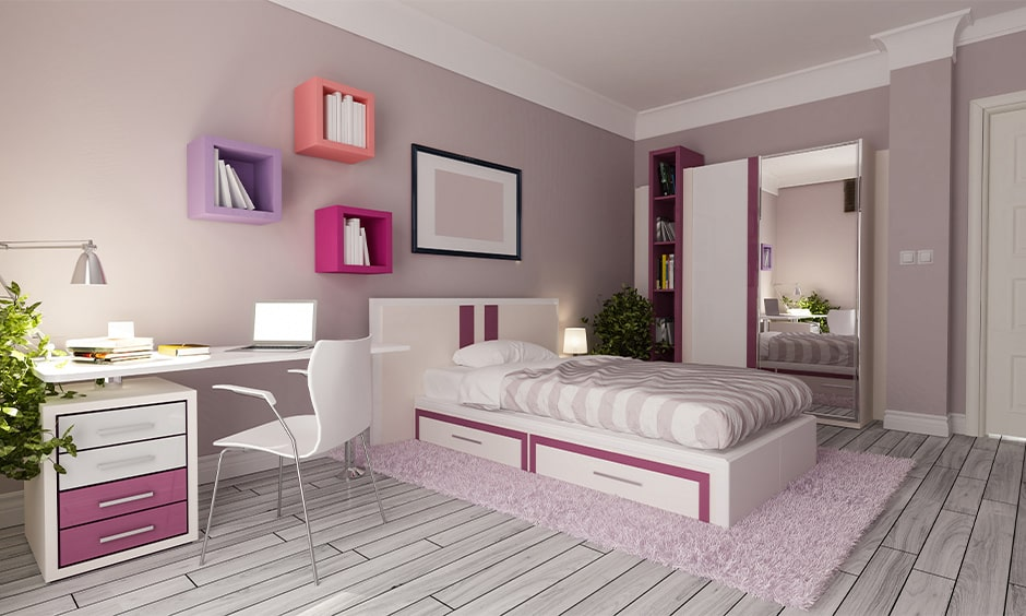 Girls bedroom interiors colors with lilac