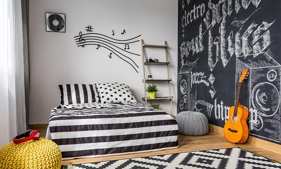 Teenage girls bedroom interior colours with black and white