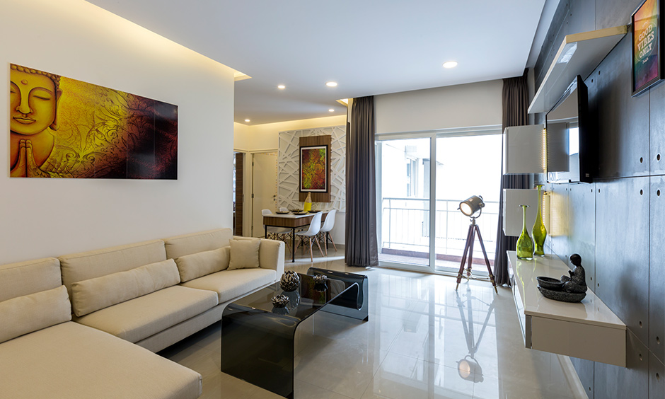Less is more cheap and best interior designers in bangalore in a minimalistically furnished home with a neutral colour palette