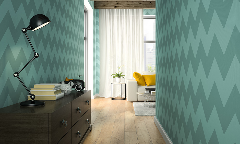 Hallway wallpaper in funky style balances the subtle modern design with the storage cabinet unit.